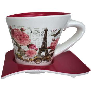 "8"" Fuchsia Printed Cup & Saucer Ceramic Planter"