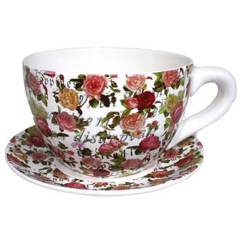 "10"" XL Roses Tea Cup and Sauce Ceramic Planter"