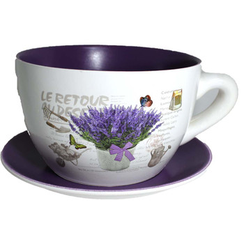 "8"" Purple Printed Cup & Saucer Ceramic Planter"