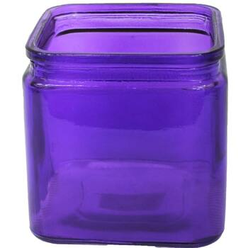 "4.75""H Purple Machine Glass Cube Vase with Lip"