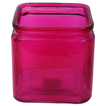 "4.75""H Fuchsia Machine Glass Cube Vase with Lip"