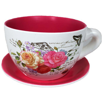 "8"" Fuchsia Printed Tea Cup & Saucer Ceramic Planter"