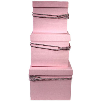 Pink Square Flower Box with Decorative Rope Set of 3