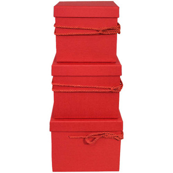 Red Square Flower Box with Decorative Rope Set of 3