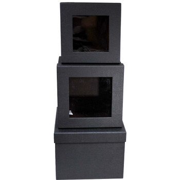 Black Square Floral Box with Window - Set of 3