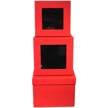Red Square Floral Box with Window - Set of 3