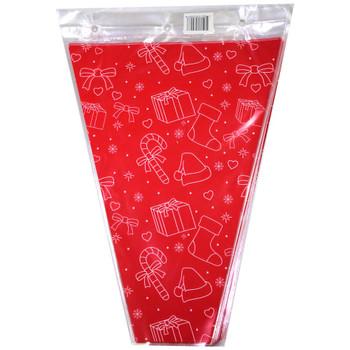 "12"" Printed Red Christmas Floral Sleeve"