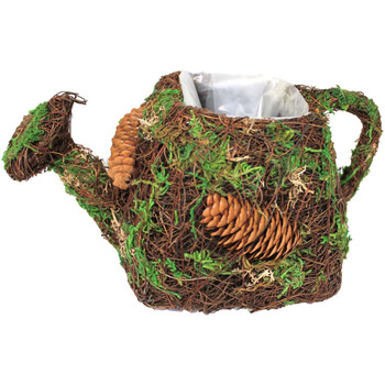 Rustic Moss & Pinecone Watering Can