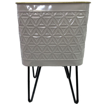 "15"" Gray Metal Geometric Vase"