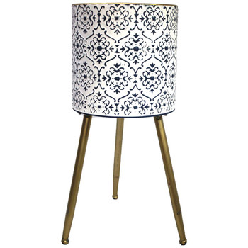 "19.5"" White & Blue Metal Moroccan Planter Vase"