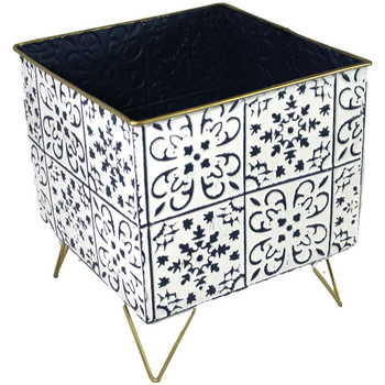 "10"" White & Blue Metal Moroccan Planter Vase"