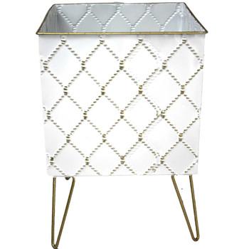 "7.5"" White & Gold Metal Moroccan Planter Vase"