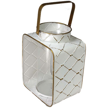 "11"" White & Gold Metal Moroccan Latern"