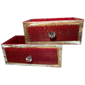 Red Rectangular Wood Drawer Planter Set of 2