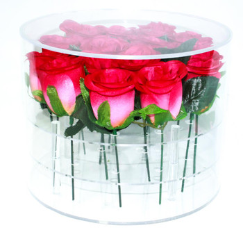"7"" Clear Acrylic Round Flower Box"