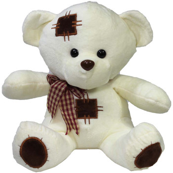 "10"" Ivory Teddy Bear with Patches"