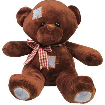"10"" Brown Teddy Bear with Patches"