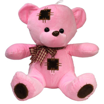 "10"" Pink Teddy Bear with Patches"
