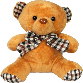 "6"" Caramel Teddy Bear with Gingham Ribbon"