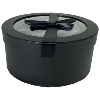 Black Round with Window Floral Hat Box Set of 3