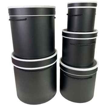 Tall Black Cylinder Floral Box Set of 5