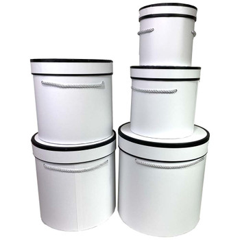 Tall White Cylinder Floral Box Set of 5