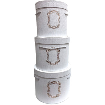 Tall White Cylinder Floral Box Set of 3