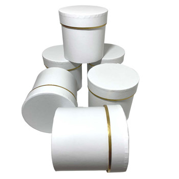 """4"""" Single Rose Round Floral  Box - 6 Pieces - White"""