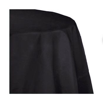 "120"" Black Round Polyester Table Cover"