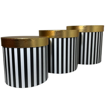 "7.75"" Striped Black Floral Box with Gold Lid - Set of 3"