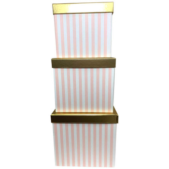 """8.25"""" Striped Pink Square Floral Box with Gold Lid - Set of 3"""