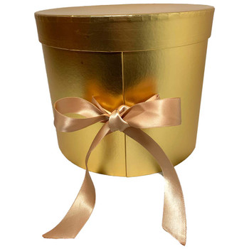 "9"" Gold Double Level Floral Hat Box"