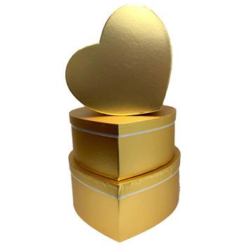 Metallic Large Heart Floral Box Set of 3 - Gold