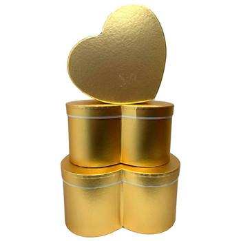 Metallic Medium Heart Floral  Box Set of 3 - Gold