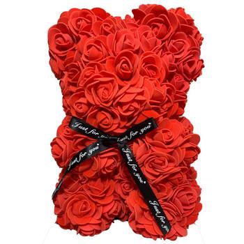 """10"""" Red Rose Foamy Teddy Bear in Box"""