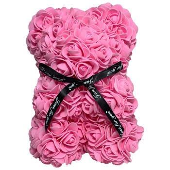 """10"""" Pink Rose Foamy Teddy Bear in Box"""