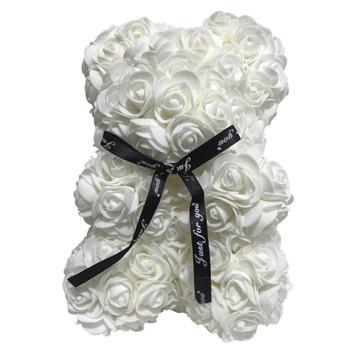 """10"""" White Rose Foamy Teddy Bear in Box"""