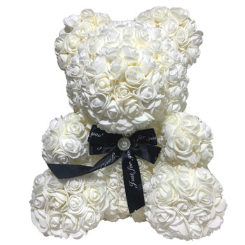 "14"" White Rose Foamy Teddy Bear in Box"