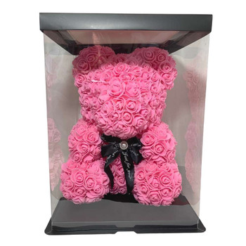 "14"" Pink Rose Foamy Teddy Bear in Box"