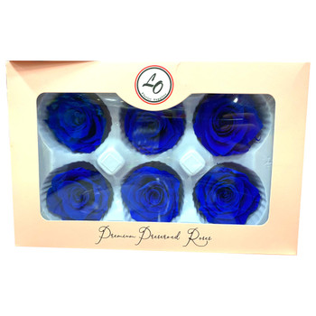 "Royal Blue Preserved Roses - Large 2.25"" - 6 Pack"