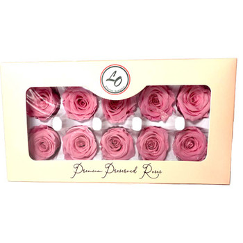 "Pink Preserved Roses - Small 1.25"" - 10 Pack"