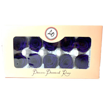 """Purple Preserved Roses - Small 1.25"""" - 10 Pack"""
