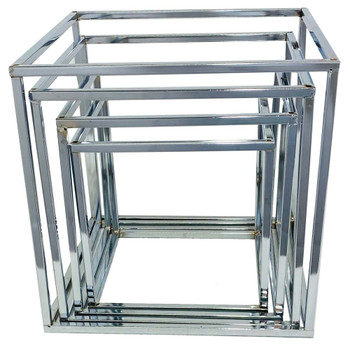 Silver Nesting Metal Display Risers - Set of 4