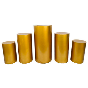 Gold Oversized Pedestal Columns - Set of 5