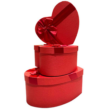 """12"""" Red Textured Floral Heart Gift Box with Ribbon - Set of 3"""