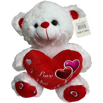 "12"" White Teddy Bear with Metallic Hearts"