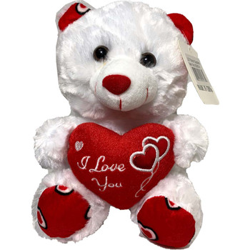 "9"" White Teddy Bear with Metallic Hearts"