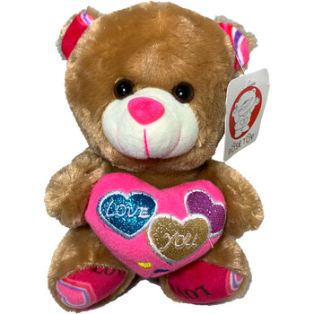 "9"" Caramel Teddy Bear with Embroidered Hearts"