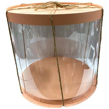 "10.5"" Acrylic Round Display Box - Pink"