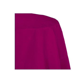 "90"" Fuchsia Round Polyester Table Cover"